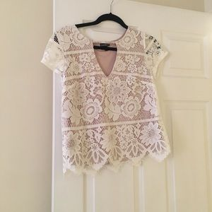 Express lace white top